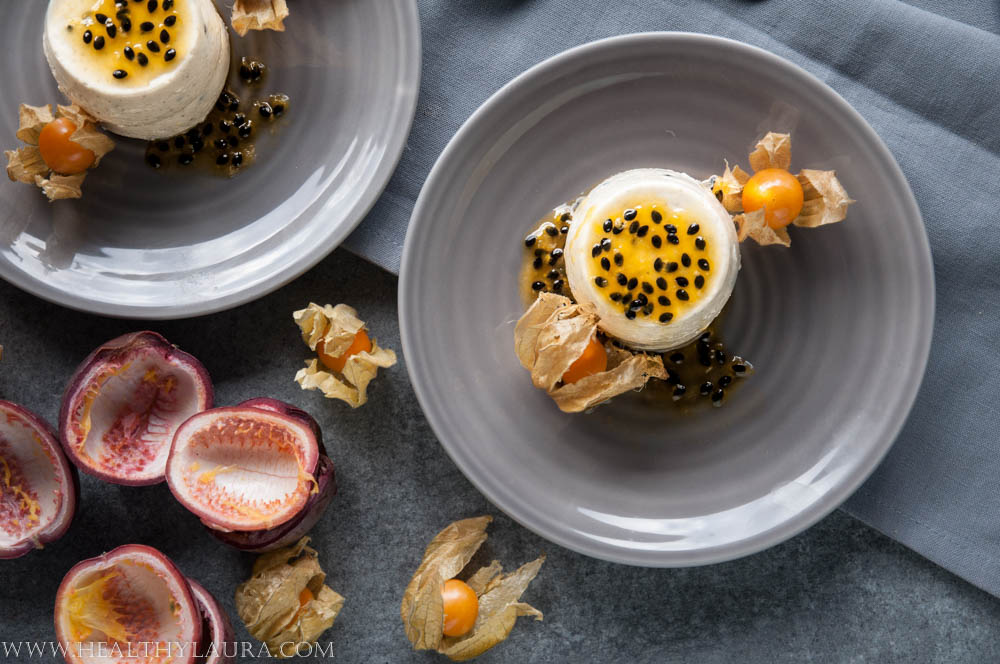 Passion Fruit Panna Cotta with Greek Yogurt and Almond Milk