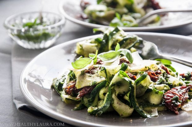 Zucchini Tagliatelles with Basil Pesto
