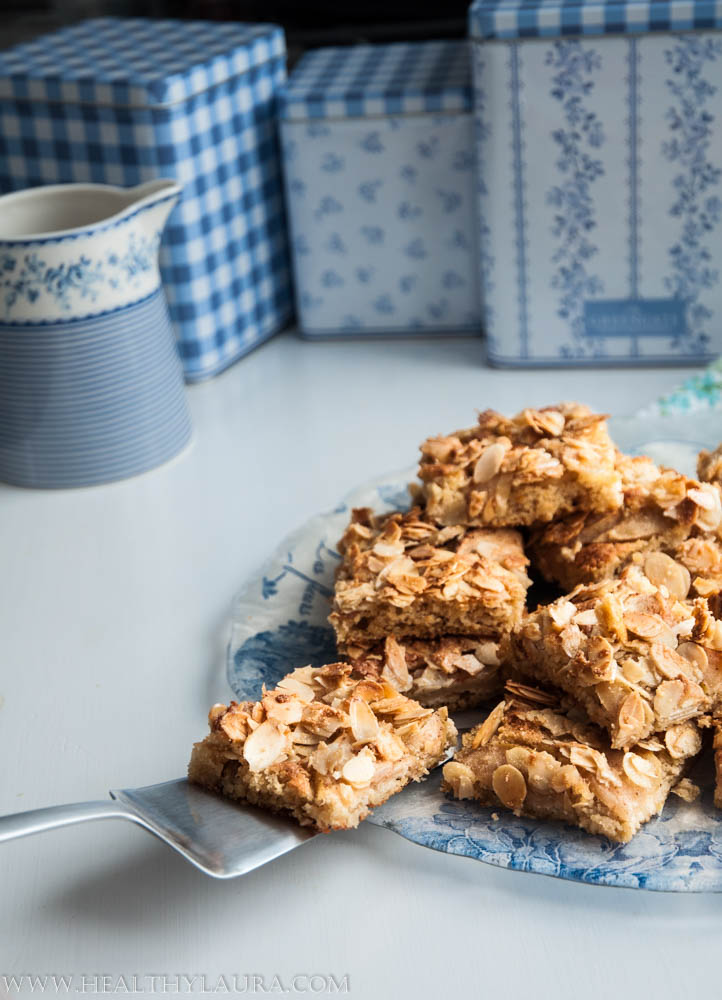 Paleo and Gluten Free Almond Apple Crumble Cake Slice
