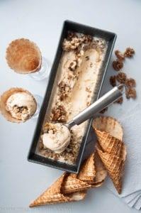 Vanilla Bean Gealto with Walnuts Caramel