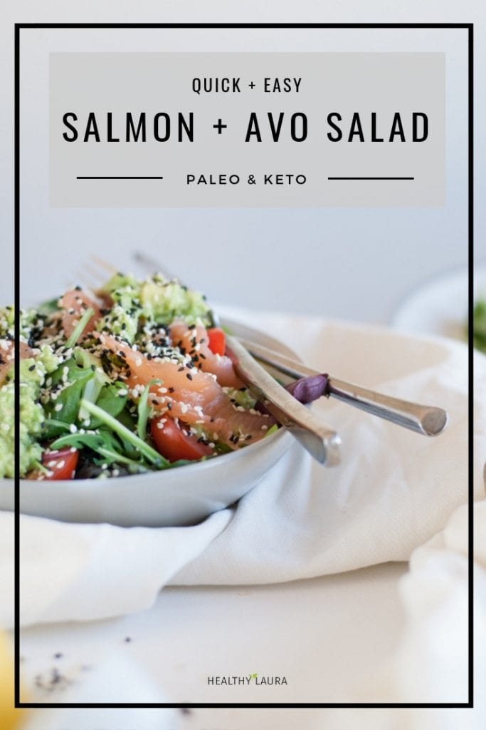 Paleo Avocado Salmon Salad Keto by Healthy Laura Food Photography. HealthyLaura @healthylauracom paleo, keto raw salted fish recipes, fish recipes, low carb fish salad recipes paleo, salmon salad, paleo fish recipe, gluten free fish avocado recipe, paleo healthy recipes, paleo Avocado Salmon recipe, paleo Avocado Salmon salad. #paleosaladrecipe #lowcarbsalmon #ketofishsalad