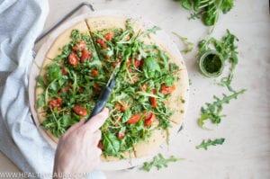 Chickpea Pizza with Rocket Pesto