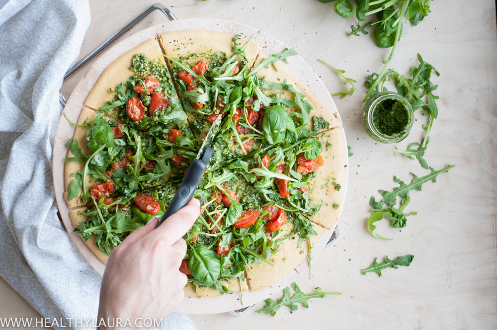 Chickpea Pizza with Rocket Pesto