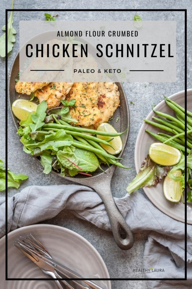 Keto Chicken Schnitzel by Healthy Laura Food Photography. HealthyLaura @healthylauracom paleo, keto crumbed chicken recipes, chicken recipes, low carb chicken almond flour crumb recipes paleo, chicken, paleo chicken recipe, gluten free paleo almond meal chicken recipe, paleo healthy recipes, paleo chicken recipe, paleo chicken schnitzel. #paleochickenrecipes #lowcarbchicken #ketochickenrecipes