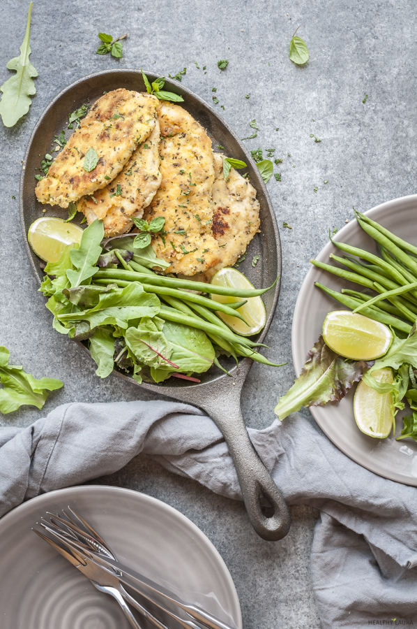 Chicken Schnitzel Paleo by Healthy Laura Food Photography. HealthyLaura @healthylauracom paleo, keto crumbed chicken recipes, chicken recipes, low carb chicken almond flour crumb recipes paleo, chicken, paleo chicken recipe, gluten free paleo almond meal chicken recipe, paleo healthy recipes, paleo chicken recipe, paleo chicken schnitzel. #paleochickenrecipes #lowcarbchicken #ketochickenrecipes