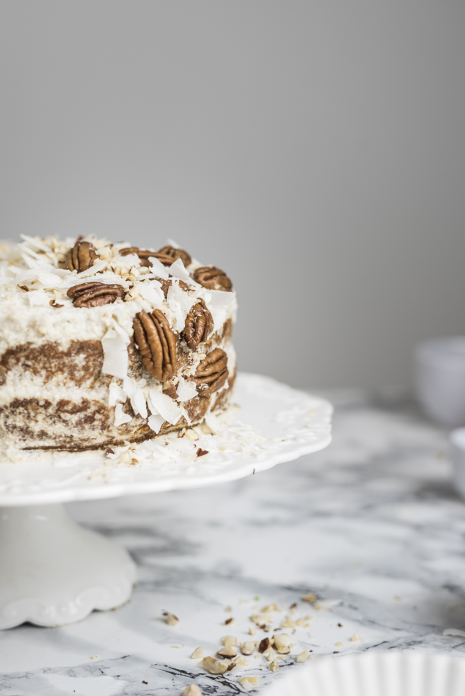 Paleo Cream Cheese Coconut & Carrot Layer Cake