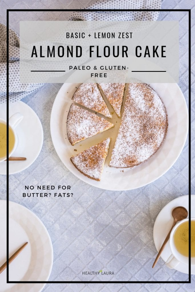 Paleo almond flour cake by Healthy Laura Food Photography. HealthyLaura @healthylauracom sugar free almond meal cake recipe that is old fashioned and easy, easy recipes paleo, paleo grain free fluffy cake, sugar free recipes, dairy free recipes, dairyfree paleo recipes, no sugar lemon easy healthy cake, vanilla almond meal cake. #palealmondflour #paleobaking #paleoalmondmealcake #paleobaking