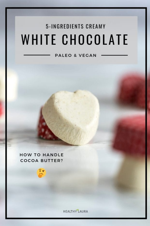 Paleo white chocolate by Healthy Laura Food Photography. HealthyLaura @healthylauracom Vegan white chocolate, valentines day, white chocolate, dairy free recipes vegan, quick white chocolate vegan, easy vegan white chocolate, gluten-free white chocolate with honey for valentines day. #paleowhitechocolate #paleowhitechocolate #veganwhitechocolate #valentinesdaychocolate