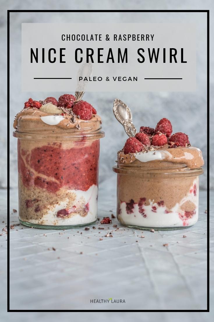 Chocolate Raspberry Nice Cream Swirl With Almond Butter