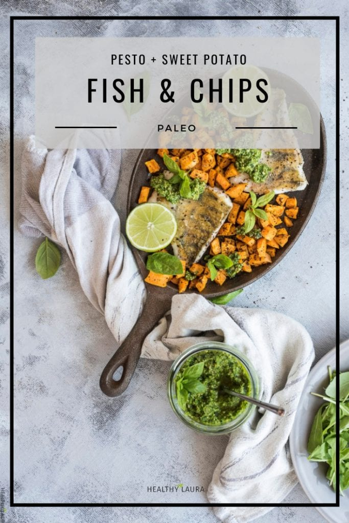 Paleo Fish and chips by Healthy Laura Food Photography. HealthyLaura @healthylauracom paleo healthy fish and chips recipe, dairy free recipes paleo, sweet potato, white fish, baked paleo fish, gluten free dinner weight watchers. #paleocomfort #paleoseafood #paleoseafood #paleofish #healthyfishandchips