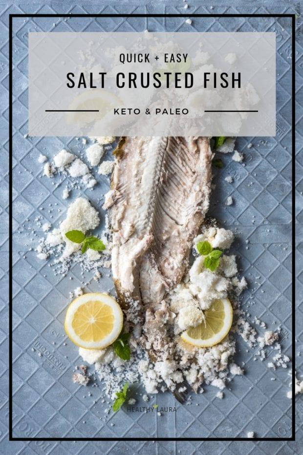 Healthy Laura Keto Salt-crusted Fish by HealthyLaura Food Photography. Instagram @healthylauracom paleo seabass, keto seabass, oven baked seabass, dairy free recipes keto, lemon, white fish, keto paleo fish, gluten free dinner weight watchers. #ketocomfort #ketoseafood #paleoseafood #paleofish #saltcrustedfish