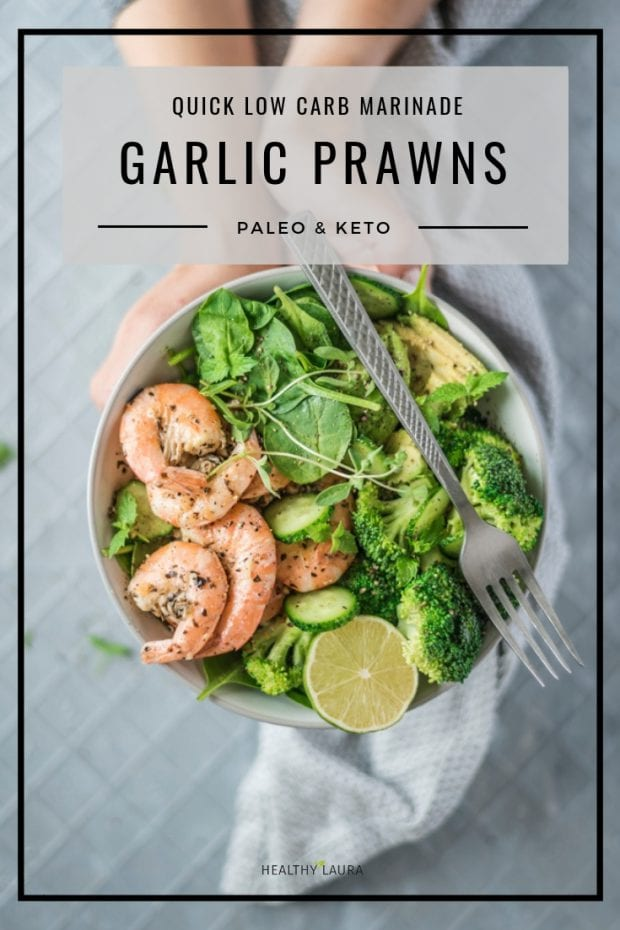 Keto Garlic Prawns by HealthyLaura Food Photography & Food Styling. HealthyLaura @healthylauracom paleo, keto milk, paleo prawns recipes, dairy-free prawns recipes, garlic prawns recipes, paleo prawns, yummy paleo, paleo healthy recipes, hempseed, hemp milk, keto paleo prawns, thyme prawns recipe. #paleorecipes #dairyfreerecipes #ketorecipes