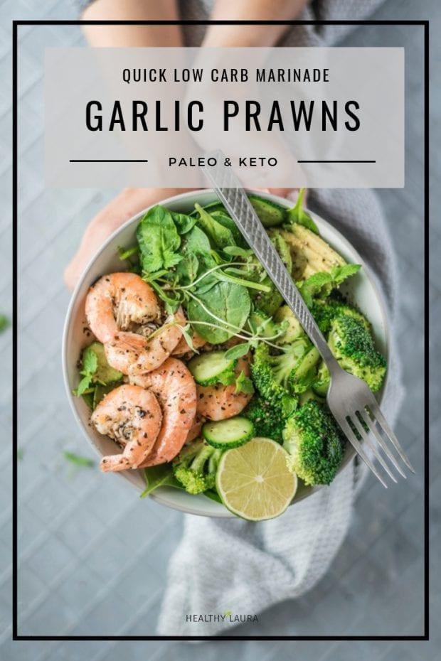 Keto Garlic Prawns by HealthyLaura Food Photography & Food Styling. HealthyLaura @healthylauracom paleo, keto milk, paleo prawns recipes, dairy-free prawns recipes, garlic prawns recipes, paleo prawns, yummy paleo, paleo healthy recipes, hempseed, hemp milk, keto paleo prawns, thyme prawns recipe. #paleorecipes #dairyfreerecipes #ketorecipes