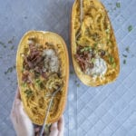 Spaghetti Squash Carbonara - Healthy Laura - Food Photography & Styling - My paleo, paleo dinner recipes, dinner recipes, spaghetti sqash recipes, cashew sauce, paleo lunch, yummy paleo, paleo healthy recipes, spaghetty pumpkin, autmun, fall, paleo pumpkin, #paleorecipes #dairyfreerecipes