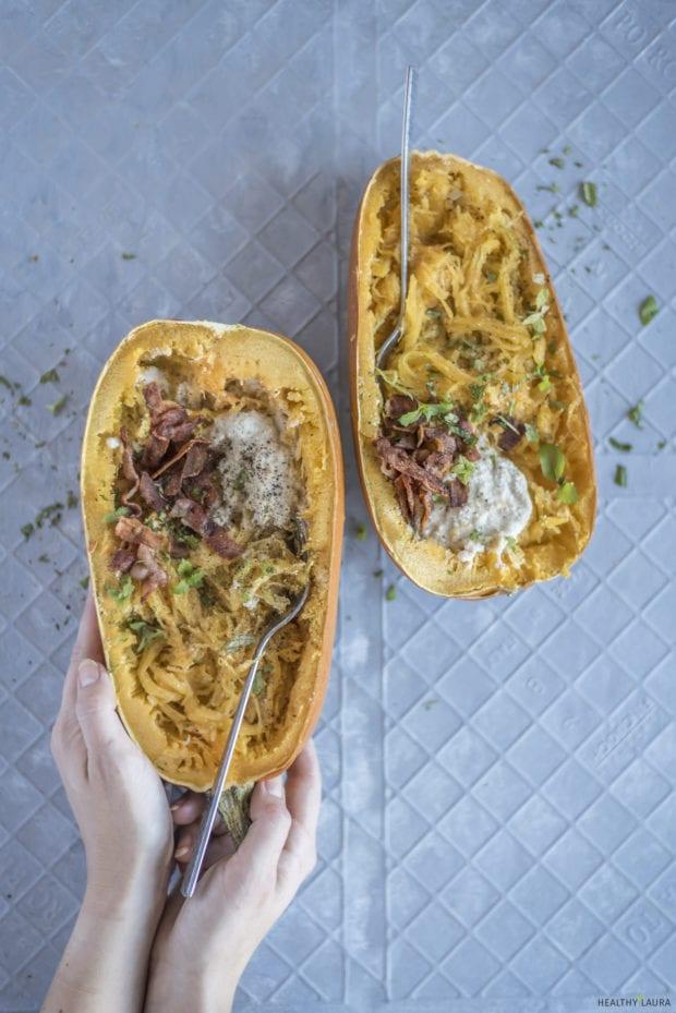 Spaghetti Squash Carbonara - Healthy Laura - Food Photography & Styling - My paleo, paleo dinner recipes, dinner recipes, spaghetti sqash recipes, cashew sauce, paleo lunch, yummy paleo, paleo healthy recipes, spaghetty pumpkin, autmun, fall, paleo pumpkin, #paleorecipes #dairyfreerecipes