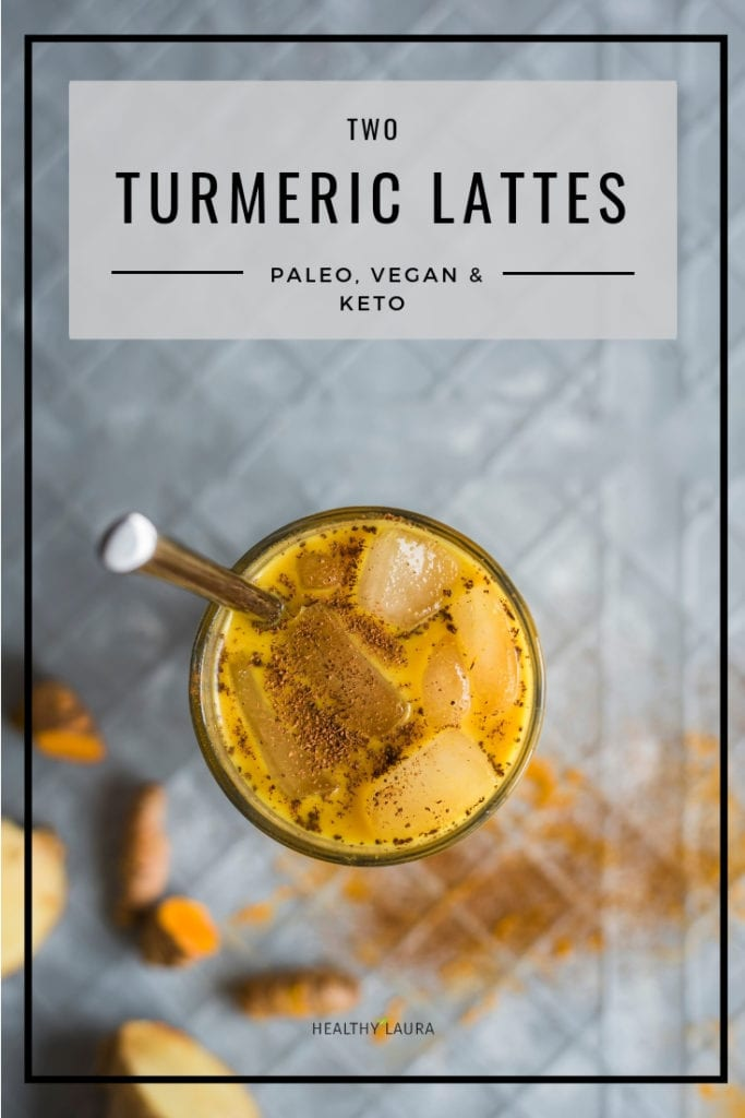 Healthy Laura Turmeric Latte by HealthyLaura Food Photography. Instagram @healthylauracom turmeric golden milk, easy iced turmeric latte, dairy free recipes vegan, quick golden milk, easy golden milk bread, paleo turmeric milk. #veganpaleo #paleoveganturmeric #ketoturmericlatte #turmericbread