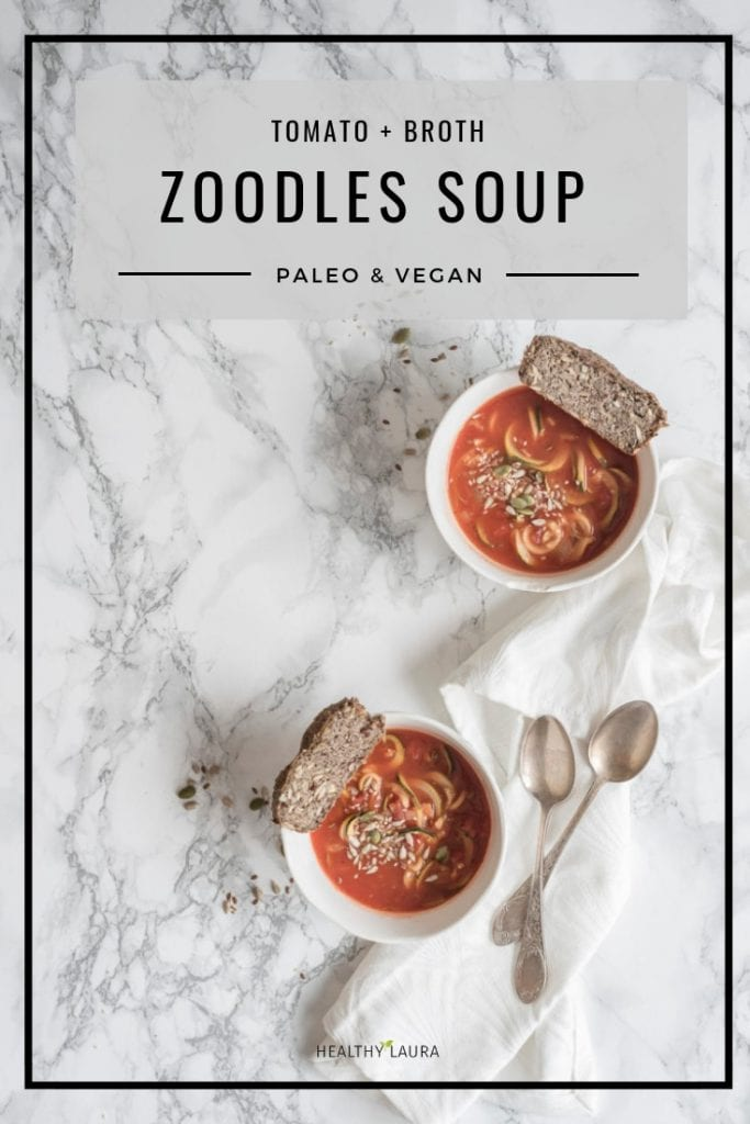 Paleo Vegetarian Zoodles Soup with Tomatoes and Noodles. Easy Vegan Thai Bowl with Zucchini Noodles. HealthyLaura @healthylauracom paleo healthy soup and broth recipe, dairy free recipes paleo, noodles soup, zucchini, gluten free dinner weight watchers. #paleocomfort #paleovegan #paleosoap #paleobonebroth #bonebrothsoup